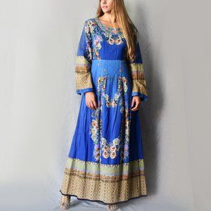 Embroidered Bohemian Maxi Dress Floral Print